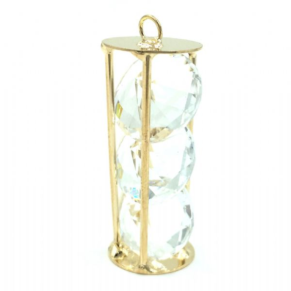 Caged egg timer shape with 4 crystals inside - 22mm x 8mm - Rose gold - Champagne